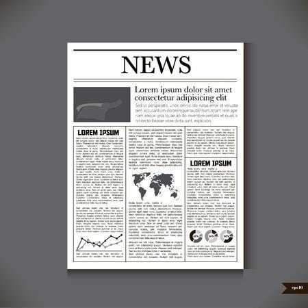 De krant met een kop News. Vector