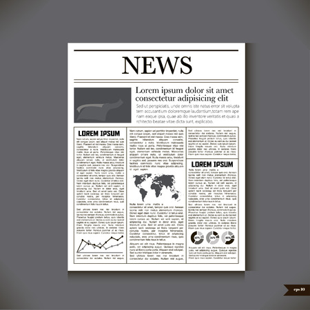 headline: The newspaper with a headline News. Vector