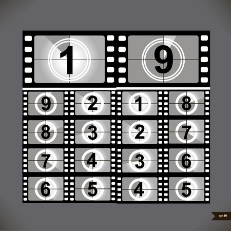 Film countdown numbers. Vector Illustration Vettoriali