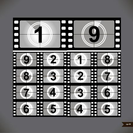 Film countdown numbers. Vector Illustration Illustration