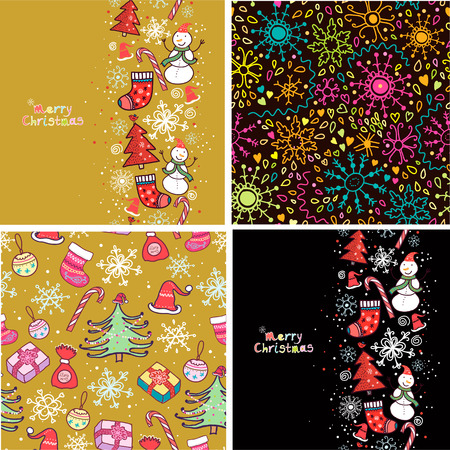 retro christmas: Set of four Christmas seamless pattern.