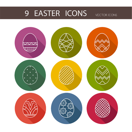 bible flower: Vector collection of cute Easter icons for your card or invitation design.Flat stylized icons set Illustration