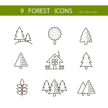 autumn garden: Forest icons set vector. Trees icons.Flat stylized icons set