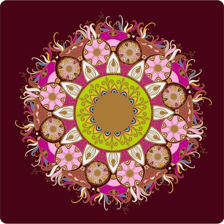 fancywork: Ornamental round lace pattern.Delicate circle.  illustration