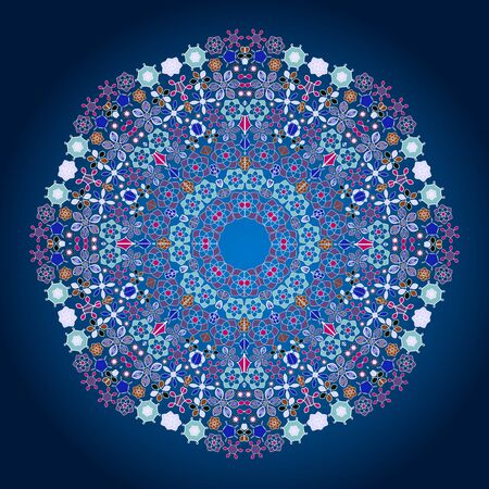 mongoloid: Ornamental round lace pattern.Delicate circle. illustration