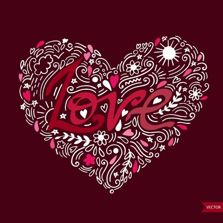 Love postcard. Lettering Love. Ink illustration. Modern brush calligraphy. Isolated on white background.