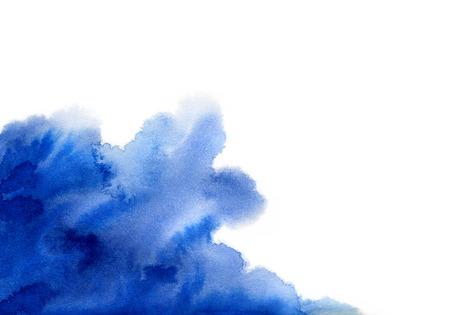 Hand painted blue watercolor background. Watercolor wash. Blue brush strokes background design isolated Vector Illustration