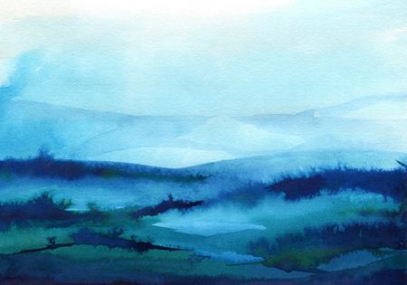 Fond aquarelle bleu peint à la main. Lavage à l'aquarelle. Conception de fond de coups de pinceau bleu isolé Vecteurs