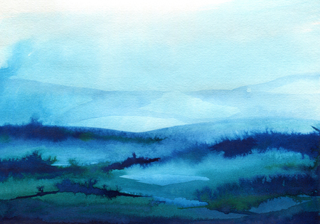 Hand painted blue watercolor background. Watercolor wash. Blue brush strokes background design isolated Векторная Иллюстрация