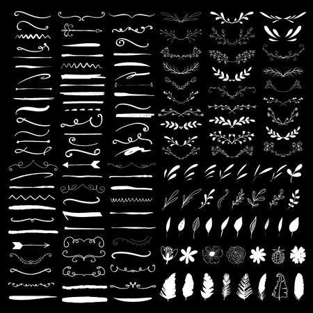 Bordi di linea, divisori di testo ed elementi di design di alloro. Illustrazione vettoriale Vettoriali