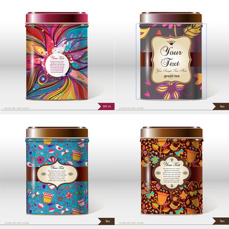 Satz von vier Vektorbox mit Platz für Ihren Text. Produktpaket gestalten. Tee, Kaffee, Trockenprodukte.