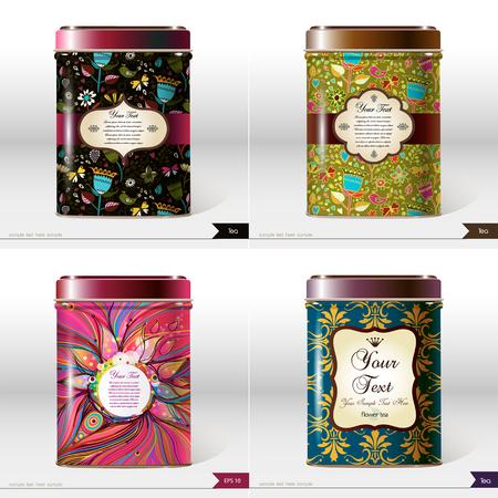 Conjunto de cuatro cuadros de Vector con lugar para el texto. Diseño de paquete de productos. Té, café, productos secos.