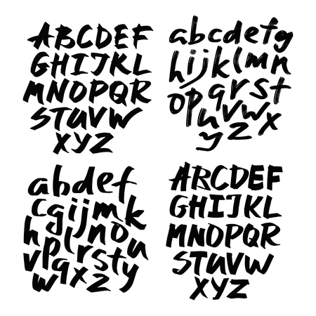 Alphabet letters.Black handwritten font drawn with liquid ink and brush.