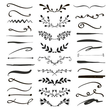 Line borders, text dividers and laurel design elements. Vector illustration