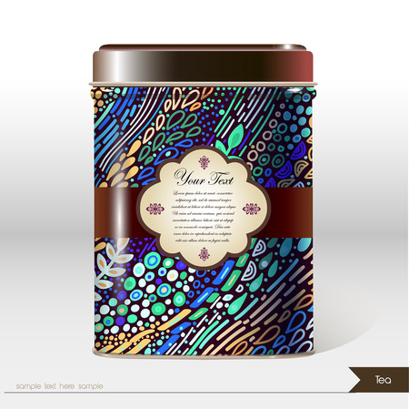 Vector box with place for your text. Design product package. Tea, coffee, dry products. - Vector