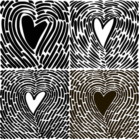 Hand drawing heart in the form of a fingerprint. Hand drawn vector heart sketch for Valentines day design - Vector