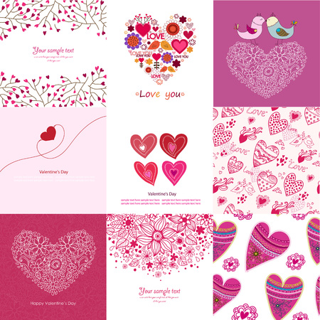 Valentines Day set - greeting cards. Love. Postcard. Congratulation.Vector illustration