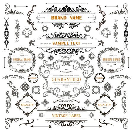 Conjunto de elementos de decoración vintage Florece adornos caligráficos y marcos con lugar para el texto. Colección de diseño de estilo retro para invitaciones, pancartas, carteles, insignias, logotipos