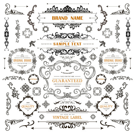 Set of Vintage Decorations Elements.Flourishes Calligraphic Ornaments and Frames with place for your text. Retro Style Design Collection for Invitations, Banners, Posters, Badges,Logotypes Ilustração