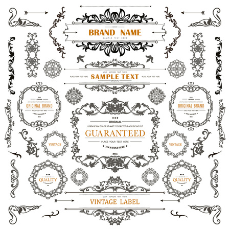 Set of Vintage Decorations Elements.Flourishes Calligraphic Ornaments and Frames with place for your text. Retro Style Design Collection for Invitations, Banners, Posters, Badges,Logotypes Banco de Imagens