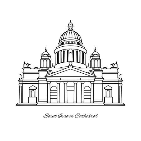 Saint Isaacs Cathedral of Saint Petersburg landmark, Russia. Vector illustration Ilustração