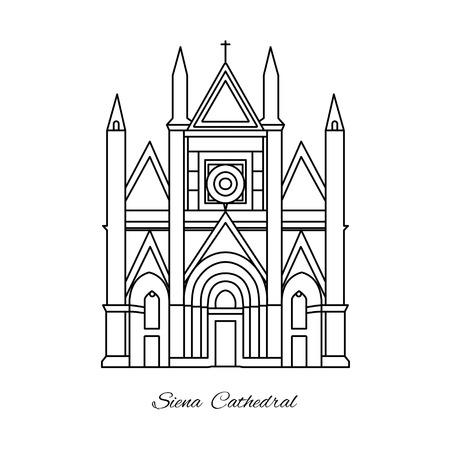 Italy, Siena Cathedral line vector illustration.