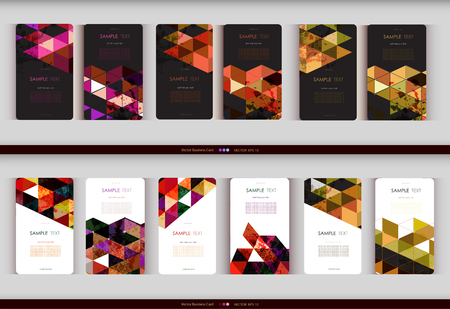 Abstract geometric business card Set. Vector illustration