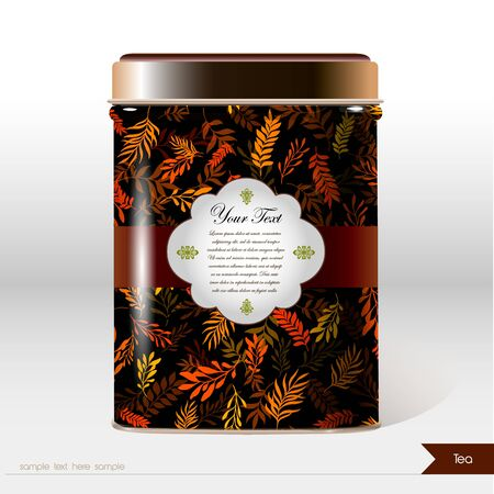 Vector box with flowers, leaves , plants and place for your text. Design product package. Tea, coffee, dry products Çizim