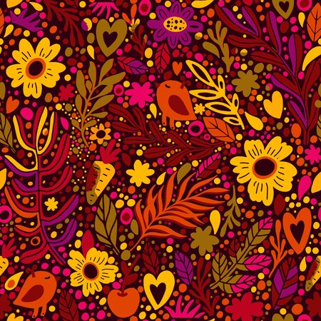 Floral seamless pattern with leaves. Seamless pattern can be used for wallpaper, pattern fills, web page background, surface textures