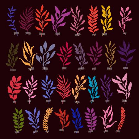 Set of Vector botanic illustrations. Botanical clipart. Set of color branches. Floral Herb Design elements. Perfect for wedding invitations, greeting cards, blogs, posters and more