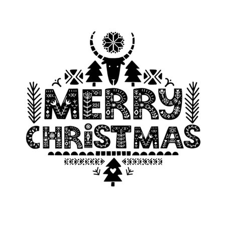 Merry Christmas Calligraphy Template. Lettering poster Merry Christmas in ethnic folk style.