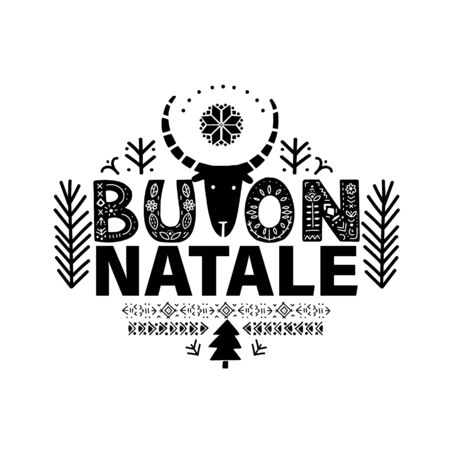 Buon Natale. Merry Christmas Calligraphy Template Buon Natale. in Italian. Lettering poster Buon Natale in ethnic folk style.