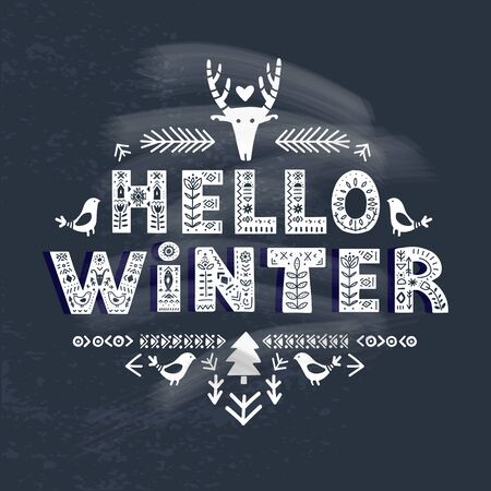 Hello Winter lettering on blackboard in ethnic folk style. Hand drawn typographic inscriptions. Hello Winter lettering with Scandinavian floral ornament.
