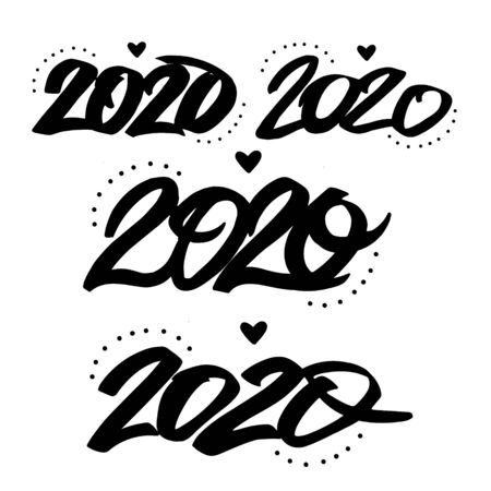 Happy New Year 2020 Lettering.