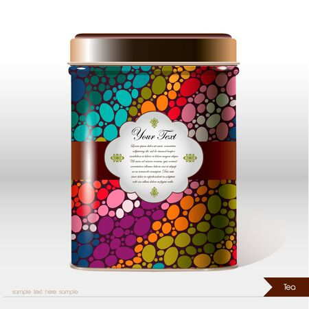 Vector box with flowers, leaves , plants and place for your text. Design product package. Tea, coffee, dry products