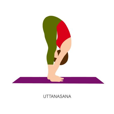 Yogi woman in Uttanasana pose. Vector illustration Illustration