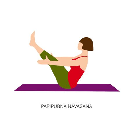 Woman in Paripurna Navasana or Boat pose. Иллюстрация