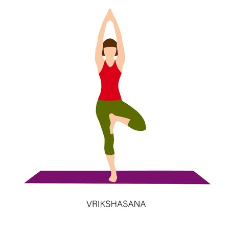 Yogi woman in Vrikshasana or Tree pose.