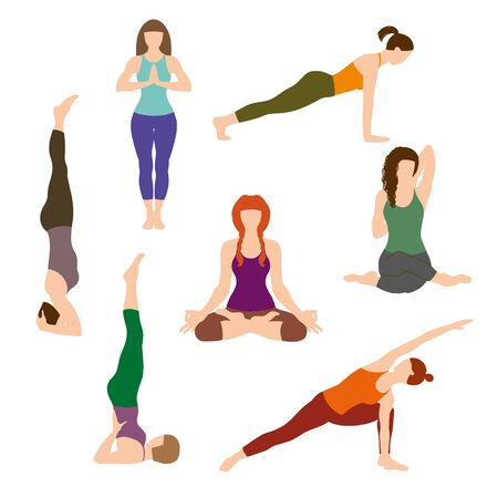 Silhouettes girl practicing yoga stretching exercises. Shapes of woman doing yoga fitness workout. Set off yoga positions. Female cartoon character practicing Hatha yoga. Flat vector illustration