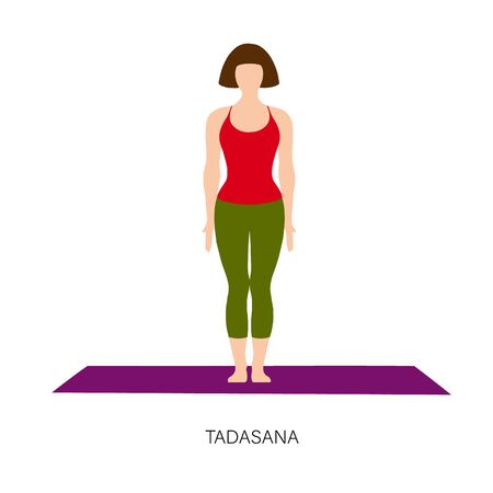 Yogi woman in Tadasana or Mountain yoga pose. Female cartoon character practicing Hatha yoga. Girl demonstrating exercise during gymnastics training. Flat vector illustration.