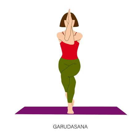 Yogi woman in Garudasana or Eagle yoga pose. Female cartoon character practicing Hatha yoga. Girl demonstrating exercise during gymnastics training. Flat vector illustration.