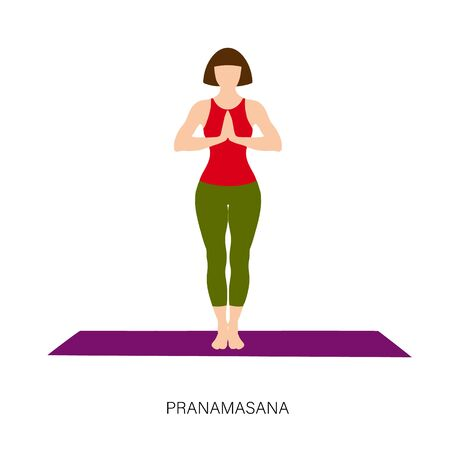 Yogi woman in Pranamasana or Prayer Pose. Female cartoon character practicing Hatha yoga. Girl demonstrating exercise during gymnastics training. Flat vector illustration.