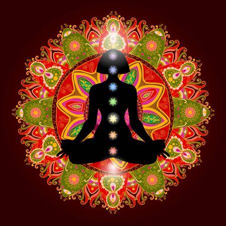 Silhouette nella posizione del loto su mandala ornato colorato. Meditando umano nella posa del loto. 9 chakra colorati e aura bagliore. Chakra concetto. Illustrazione vettoriale. Vettoriali