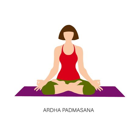 Yogi woman in Ardha padmasana or Yoga Lotus pose. Female cartoon character practicing Hatha yoga. Girl demonstrating exercise during gymnastics training. Flat vector illustration. Illustration