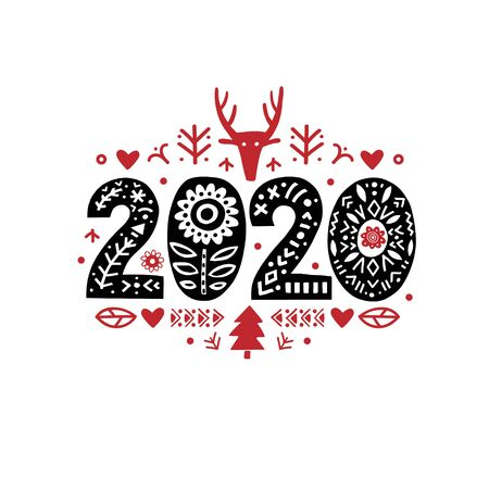 2020 Merry Christmas Calligraphy Template. Lettering poster 2020 New Year in ethnic folk style.