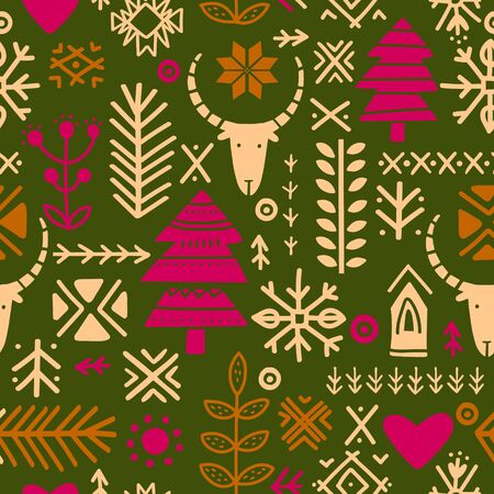 Seamless ethnic folk pattern. Handmade. Horizontal stripes. Tribal art boho seamless pattern. Vector illustration.
