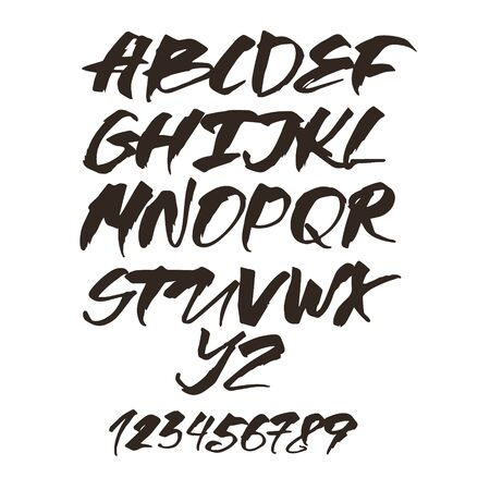Alphabet letters. Black handwritten font drawn with liquid ink and brush. Calligraphic script vector Иллюстрация