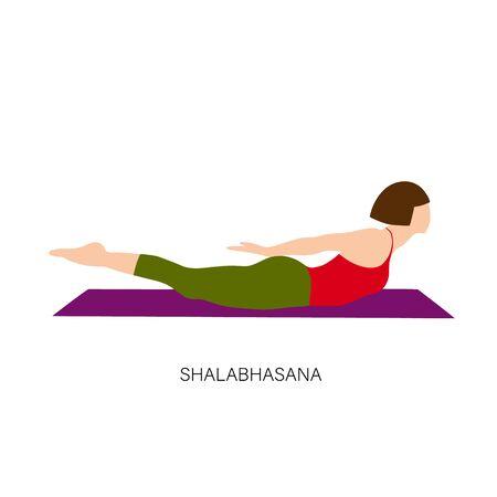 Yogi woman in Shalabhasana or Locust Pose or Grasshopper Pose Female cartoon character practicing Hatha yoga. Girl demonstrating exercise during gymnastics training. Stock Vector - 134749754