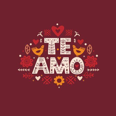 I Love You quote in Espanol. Te Amo Calligraphy Ilustração