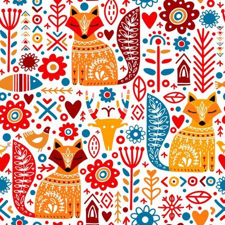 Abstrakte Volkspflanzen, Fuchs, Hirsch, Blumen und Fische im nahtlosen Muster im nordischen Stil. Orange, Rot, Gelb, Blau. Textil-, Tapeten-, Geschenkpapier-Designidee
